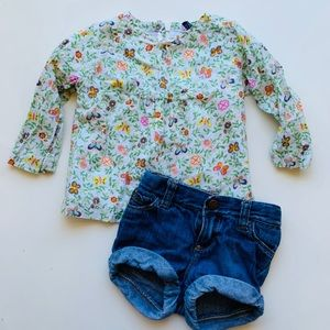 Gap Floral Shirt and Jean Shorts 18-24 months